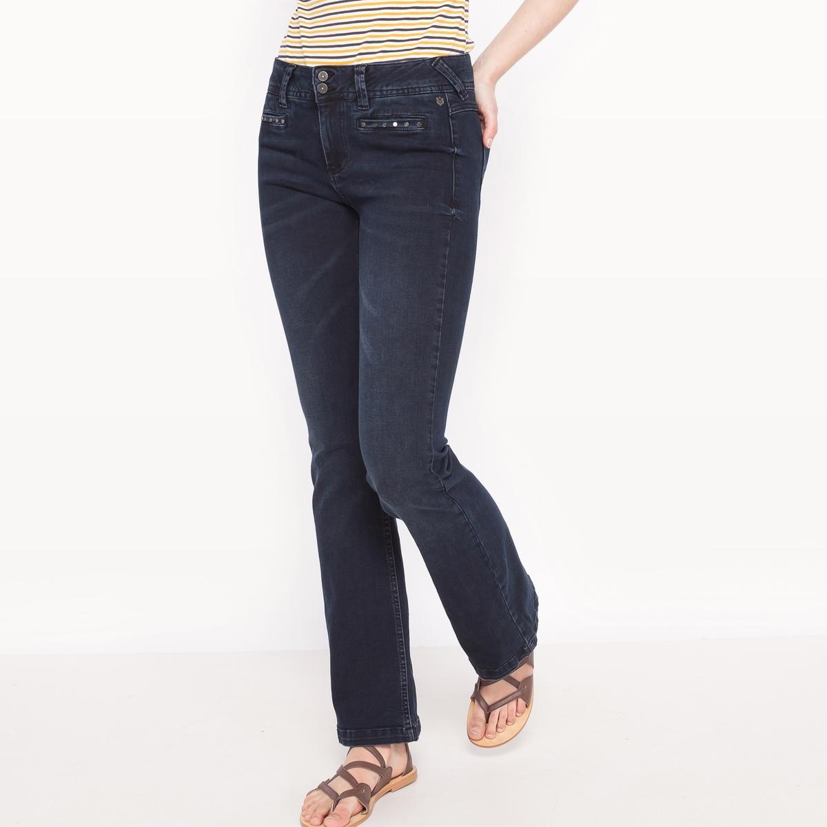 Джинсы буткат FAUSTINE, стандартная высота поясаМатериал : 98% хлопка, 2% эластана         Высота пояса : высокий пояс        Покрой джинсов : расклешенный, сильно расширяющийся к низу        Длина джинсов : длина 32<br><br>Цвет: темно-синий