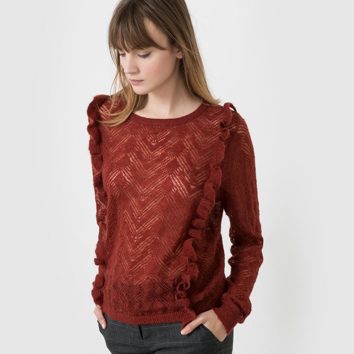 Пуловер из ажурного трикотажа с воланами