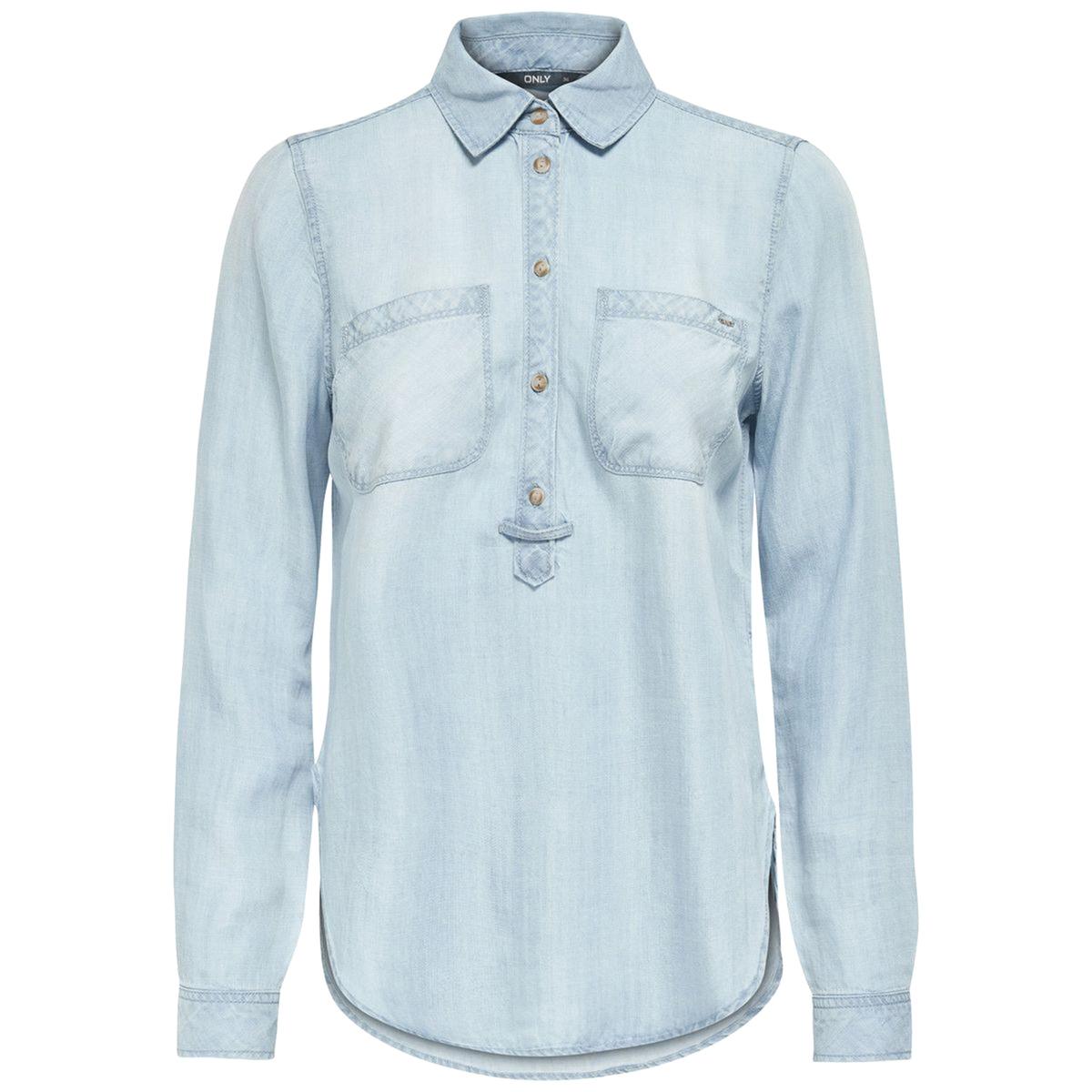 Блузка из легкого денимаМатериал : 100% лиоцелл    Длина рукава : длинные рукава  Форма воротника : воротник-поло, рубашечный  Длина блузки : стандартная   Рисунок : однотонная модель<br><br>Цвет: голубой