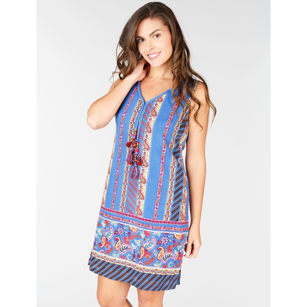 Платье с кашемировым рисунком без рукавов