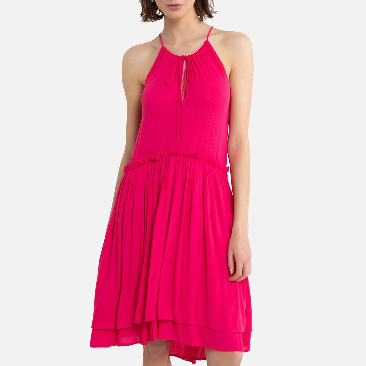 Платье LaRedoute Короткое с тонкими бретелями 36 (FR) - 42 (RUS) розовый платье la redoute короткое расклешенное в горошек с ажурными бретелями 42 fr 48 rus синий