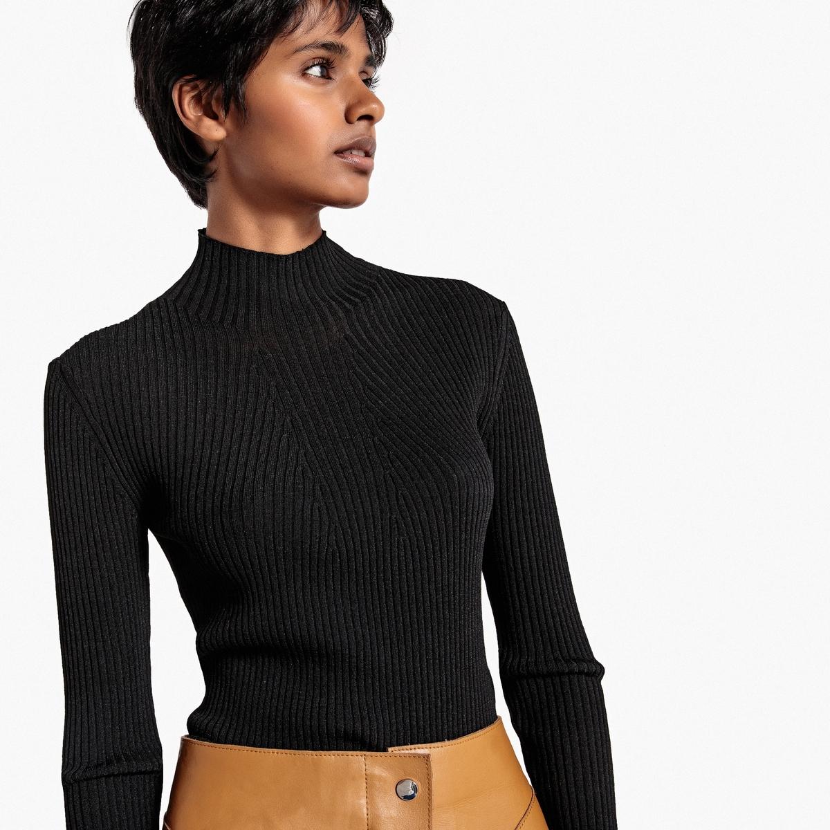 Пуловер с воротником-стойкой из блестящего трикотажа La Redoute Collections