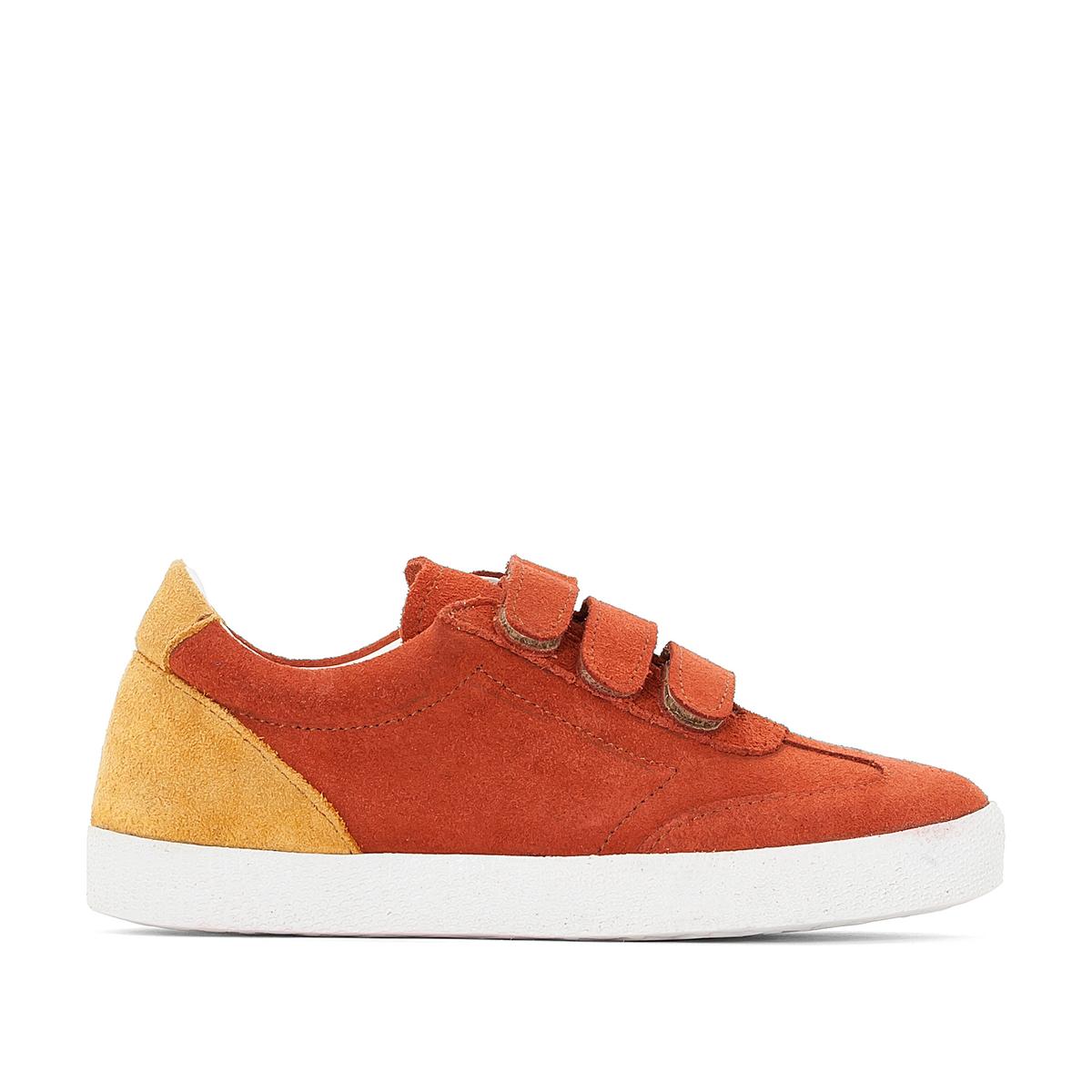 Кеды из невыделанной кожиДетали  •  Спортивный стиль •  Плоский каблук •  Застежка : планка-велкро •  Велюровая отделка, нубукСостав и уход  •  Верх 100% спилок •  Подкладка 100% хлопок<br><br>Цвет: бордовый/ белый,желтый/ белый,красно-коричневый<br>Размер: 33.33.32.31.31