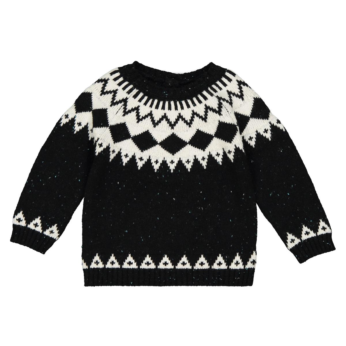 Пуловер с жаккардовым рисунком из плотного трикотажа, 1 мес. - 3 года