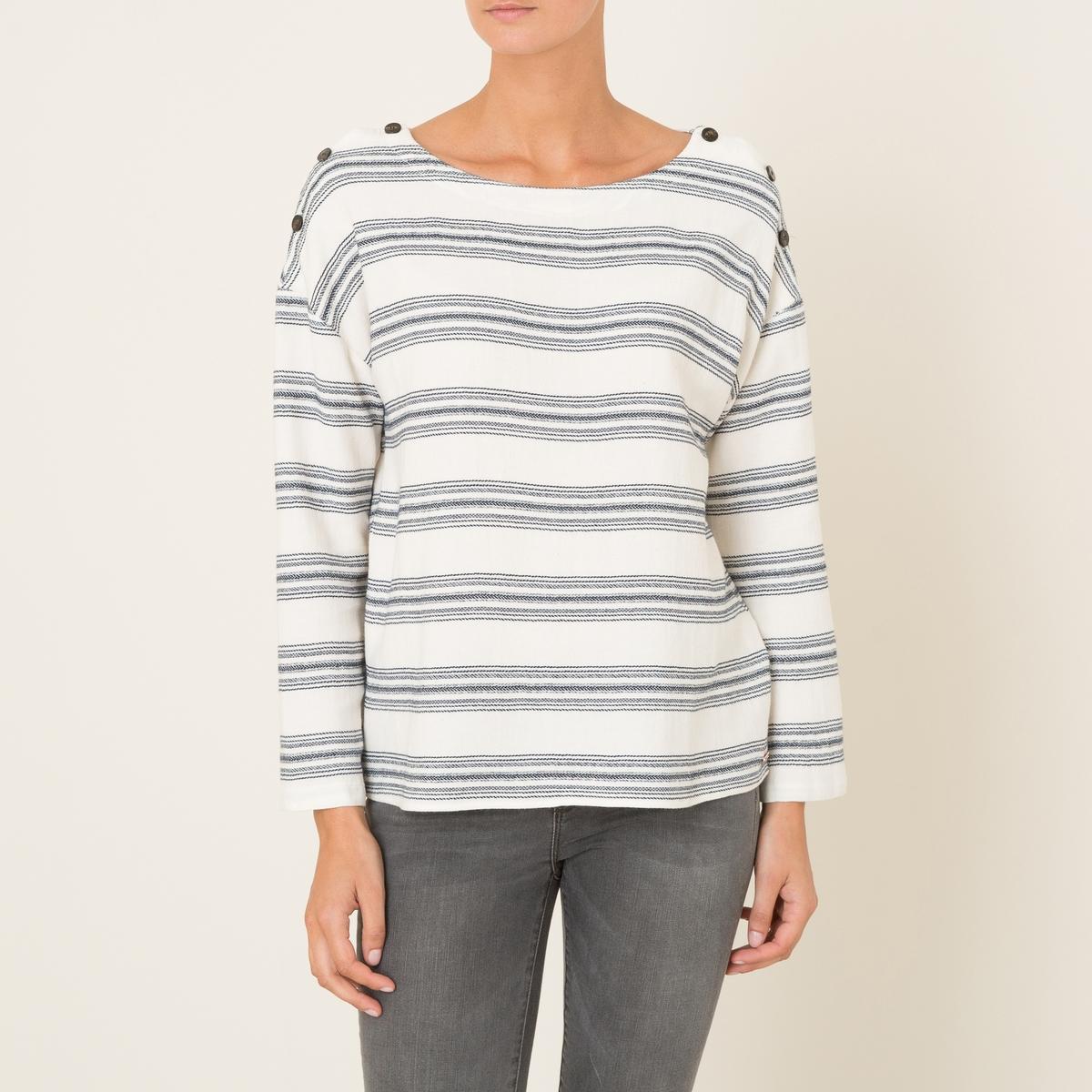 Блузка VERONAБлузка HARRIS WILSON - модель VERONA. Блузка из ткани в полоску из окрашенных нитей . Свободный круглый вырез . Плечики с пуговицами. Длинные рукава. Прямой покрой. Состав &amp; Детали Материал : 52% хлопок, 47% вискоза, 1% люрексМарка : HARRIS WILSON<br><br>Цвет: экрю