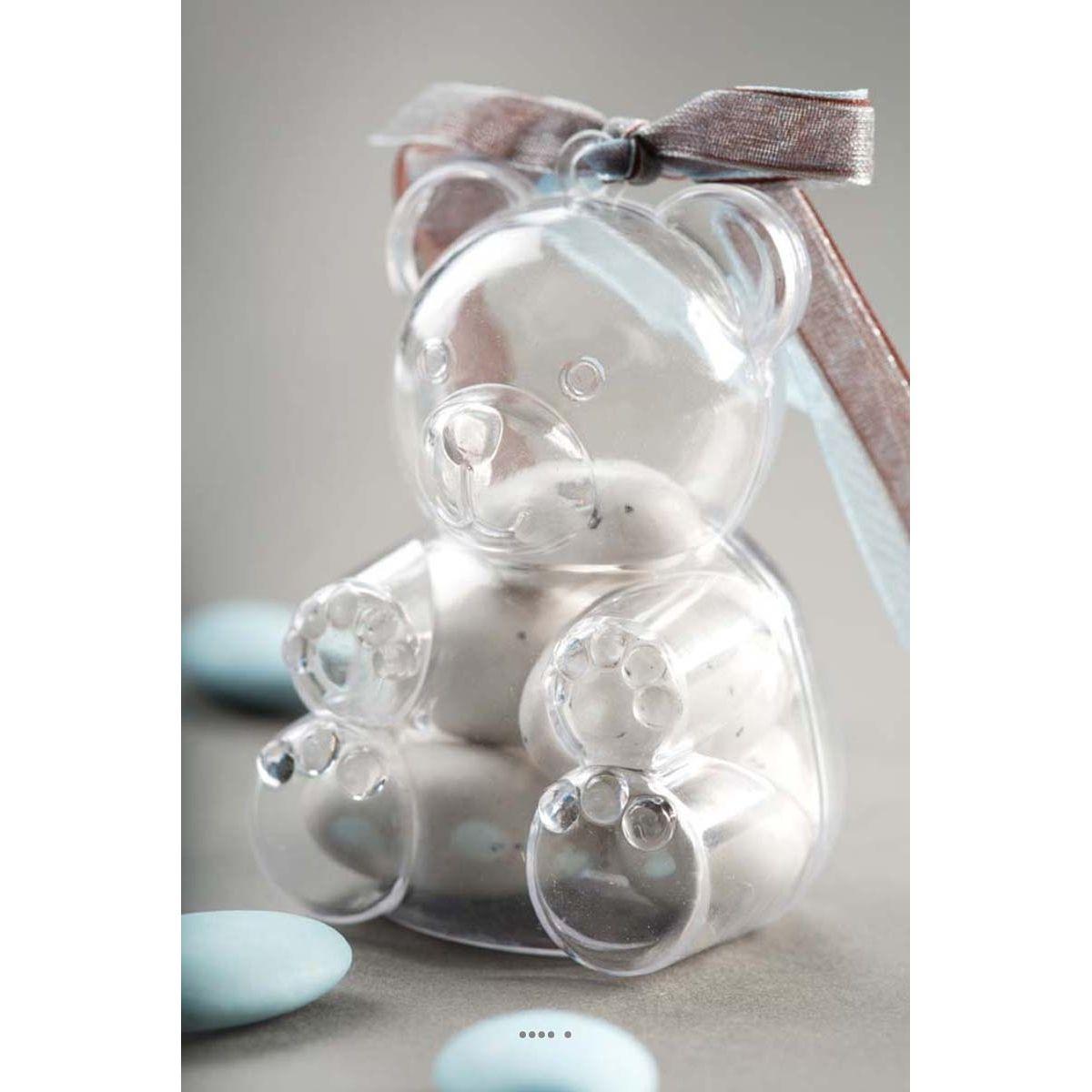 Boite transparente Ours X4 a garnir en PVC ideale pour vos dragees
