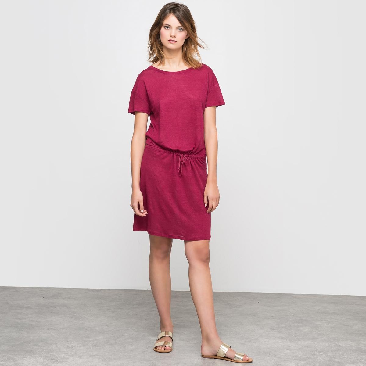 Платье из льна с круглым вырезомОднотонное платье из трикотажа 100% льна . Короткие рукава, круглый вырез . Прямой покрой, завязка в кулиске на поясе, неглубокие проймы рукавов... шарм, рожденный в простоте  !Состав и описание Материал :100% льна.Длина : 93 смМарка : R essentiels<br><br>Цвет: розовый-вишневый<br>Размер: 38/40 (FR) - 44/46 (RUS)