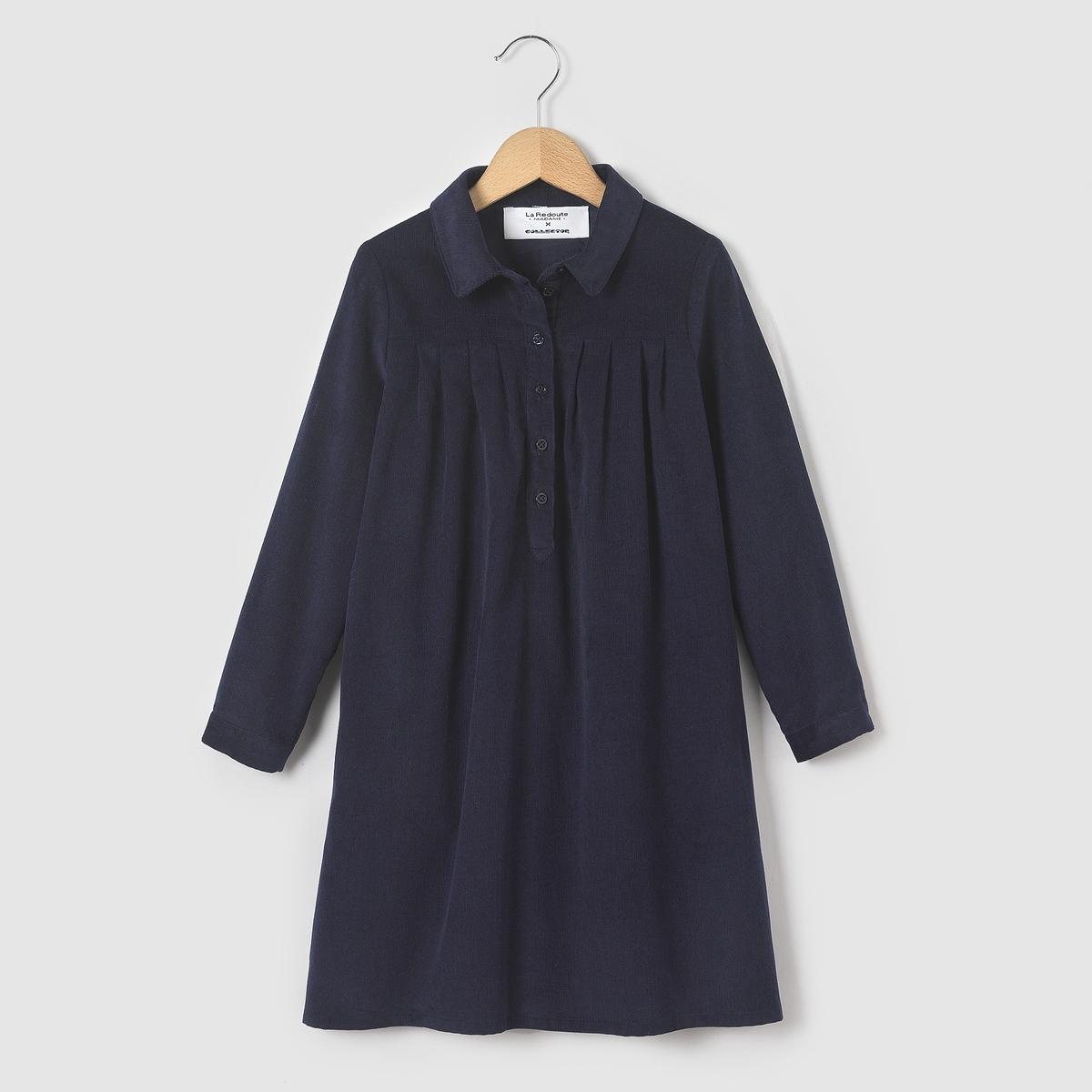 Платье-рубашка из велюра COLLECTOR, 3-12 летПлатье-рубашка из велюра с длинными рукавами. Отрезная вставка под грудью. Застежка на пуговицы до пояса спереди. 2 кармана по бокам.Состав и описание : Материал       велюр, 100% хлопокДлина    до середины бедраМарка       abcdR   Уход :Машинная стирка при 30 °C с вещами схожих цветов.Стирать и гладить с изнаночной стороны.Машинная сушка запрещена.Гладить при умеренной температуре.<br><br>Цвет: синий морской