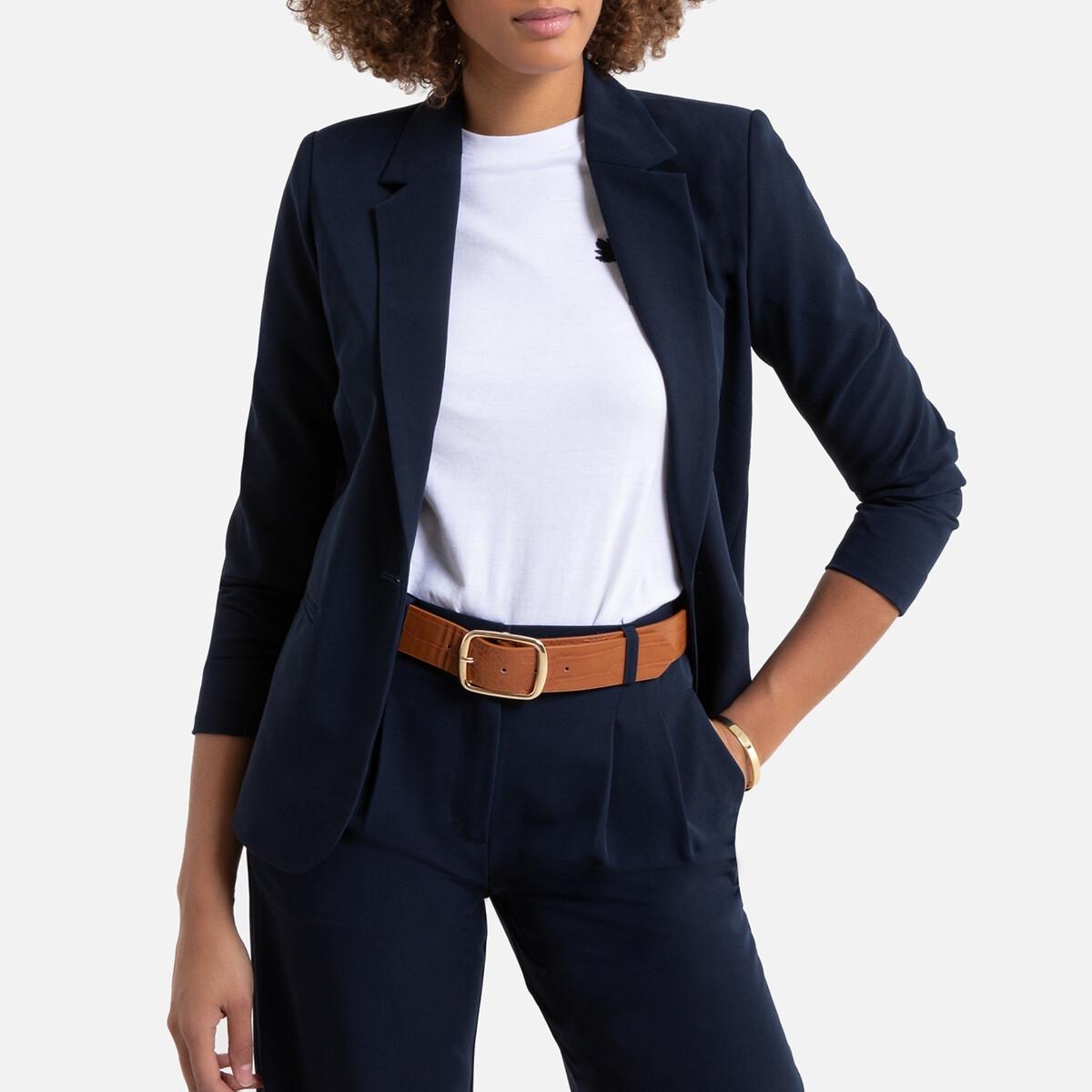 Фото - Жакет LaRedoute Прямого покроя 36 (FR) - 42 (RUS) синий юбка laredoute джинсовая прямого покроя xs синий