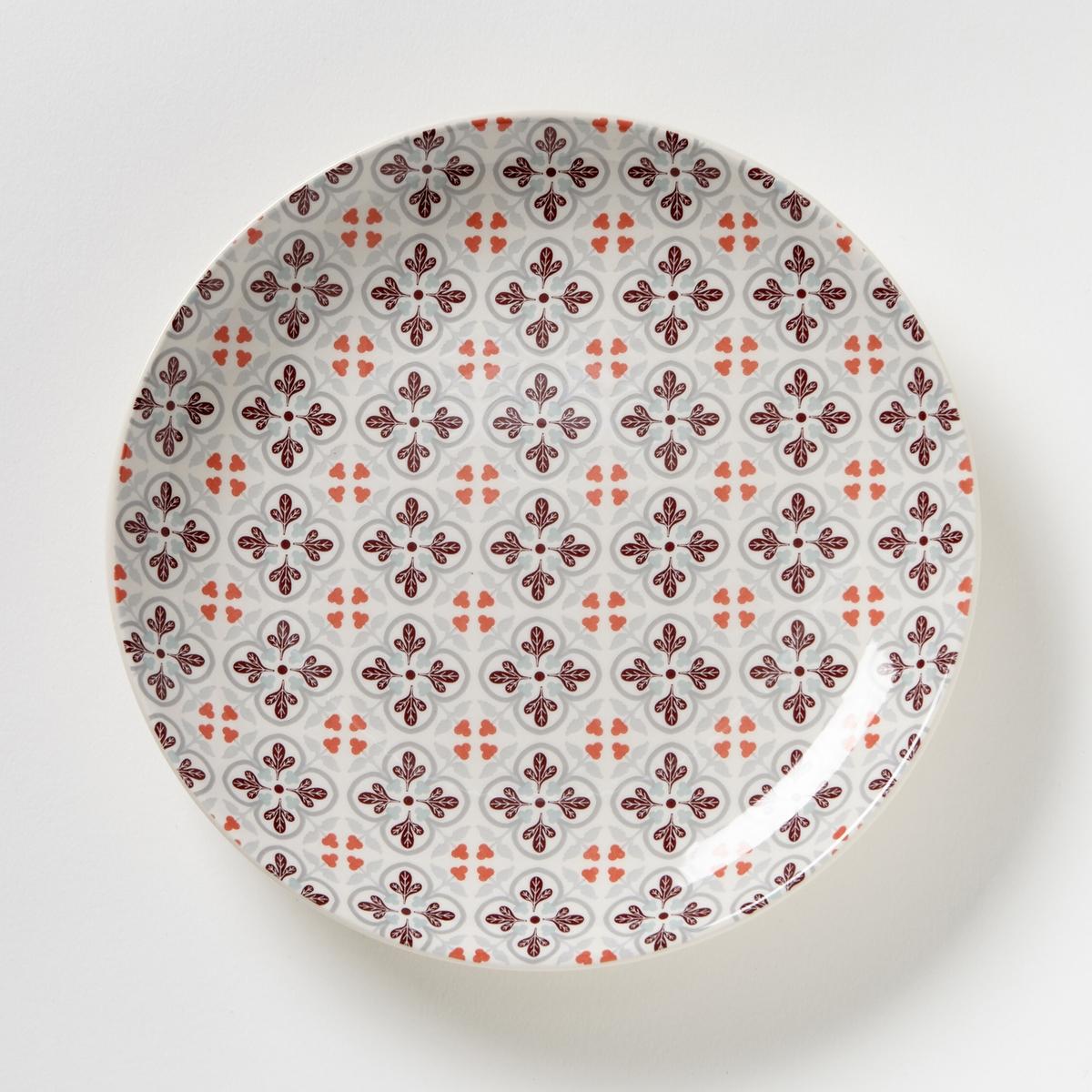 4 десертные тарелки с рисункомХарактеристики 4 десертных тарелок с рисунком :- Фаянс, разноцветный рисунок .- Диаметр 18,8 см .- Подходит для посудомоечной машины и микроволновой печи .Плоские тарелки и кружки из комплекта продаются на сайте laredoute.ru<br><br>Цвет: набивной рисунок