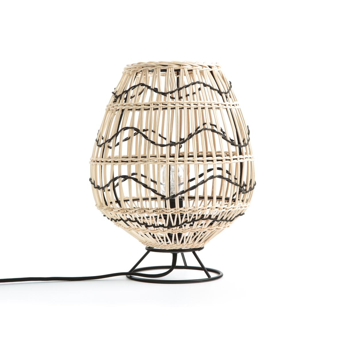 Лампа La Redoute Настольная из металла и ротанга Martaban единый размер бежевый поднос la redoute из ротанга vesprie единый размер бежевый
