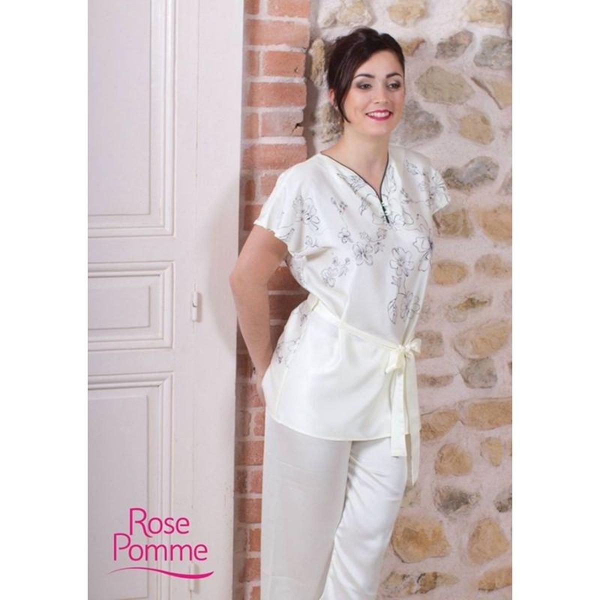 Pyjama Satin Ecru Fleurs