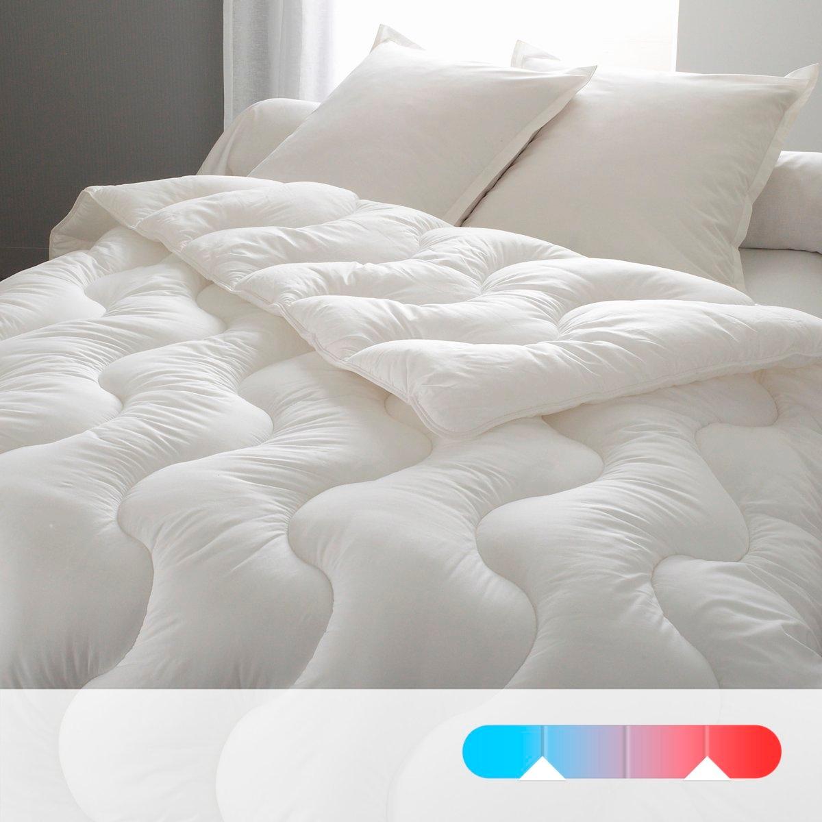 Одеяло синтетическое с чехлом из натурального материала4 сезона : 1 одеяло 200 г/м? для лета, 1 одеяло 300 г/м? для межсезонья, оба одеяла для зима (скрепляются завязками).Наполнитель THERMOSOFT : полые и тонкие волокна-спирали способствуют циркуляции воздуха и не пропускают холод. Обработка против клещей PRONEEM на растительной основе эффективна даже после многочисленных стирок. Машинная стирка при 60 °С. Прострочка шестиугольниками. Поставка в прозрачном чехле.<br><br>Цвет: белый<br>Размер: 260 x 240  см