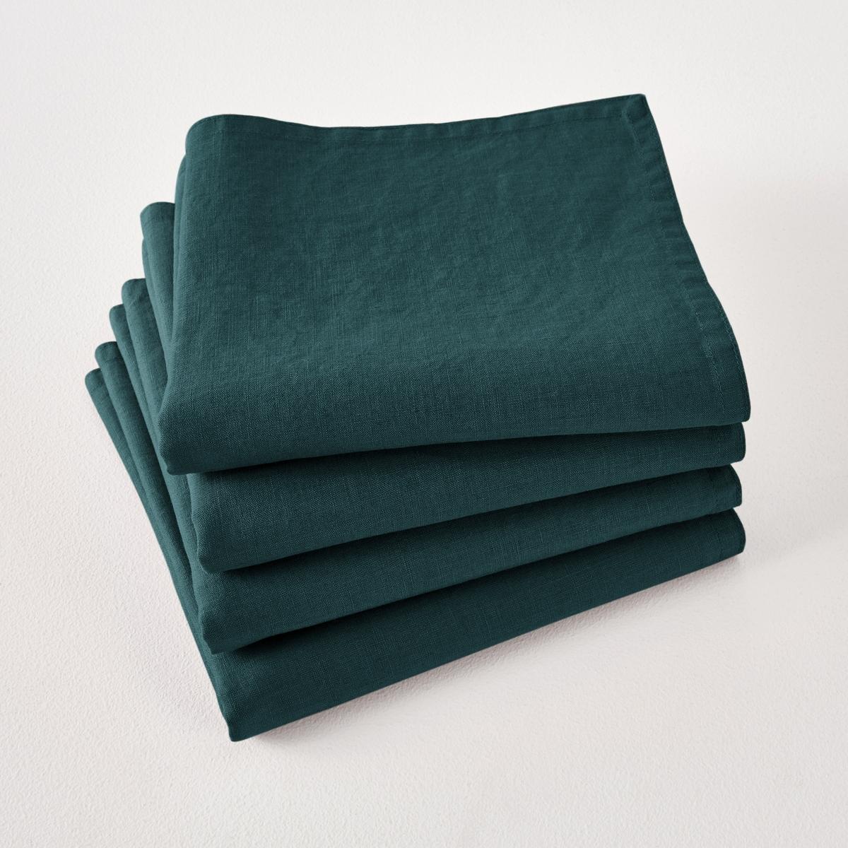 Комплект из салфеток Victorine La Redoute Из осветленного льна 45 x 45 см зеленый цены