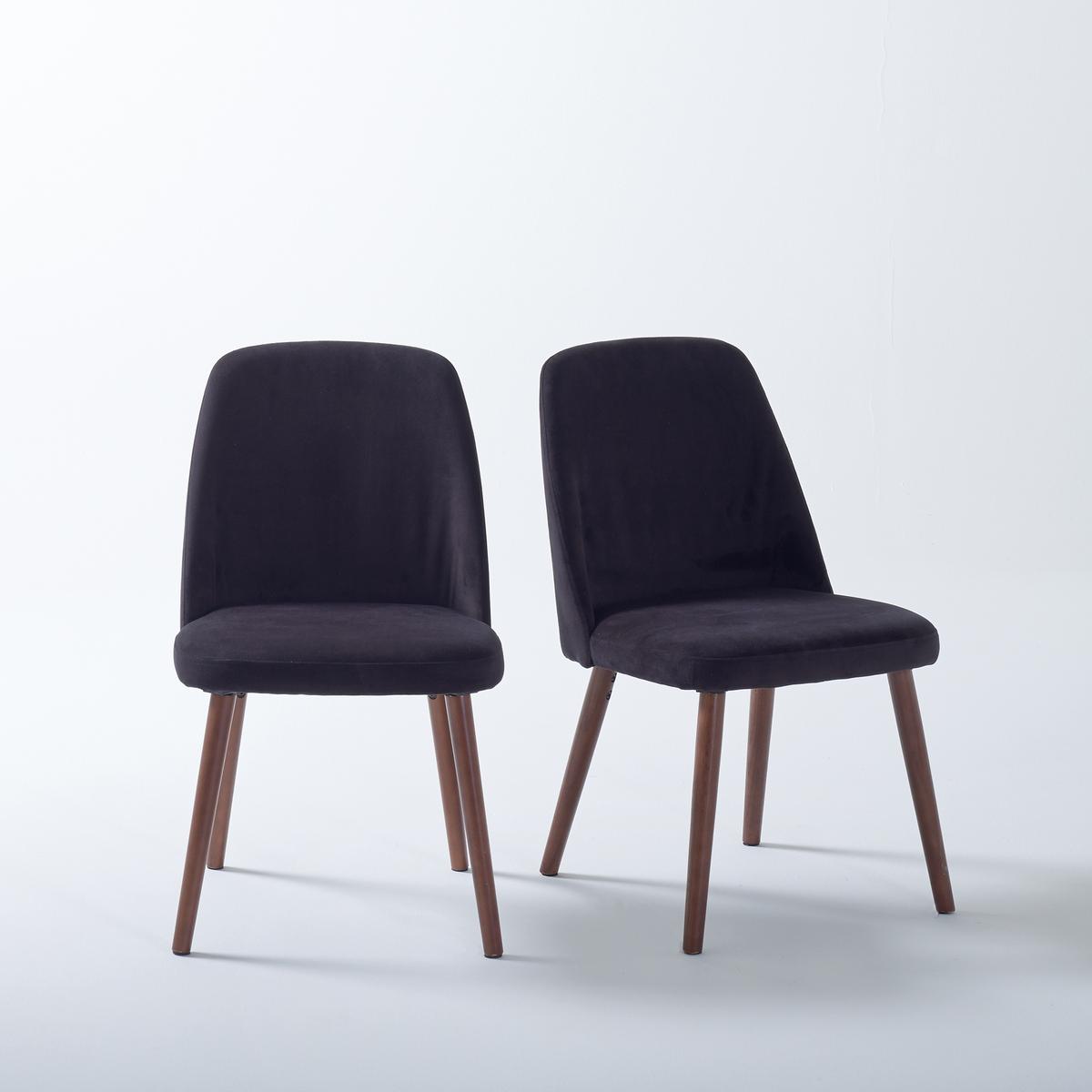 2 стула из велюра и орехового дерева, WATFORD