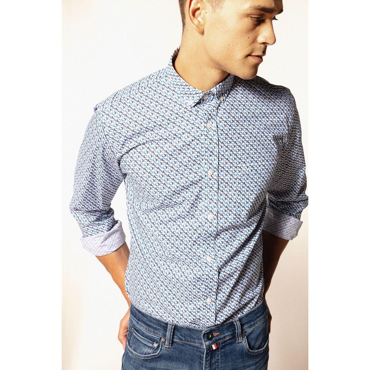 Chemise manches longues en popeline de coton à motifs fantaisie graphiques
