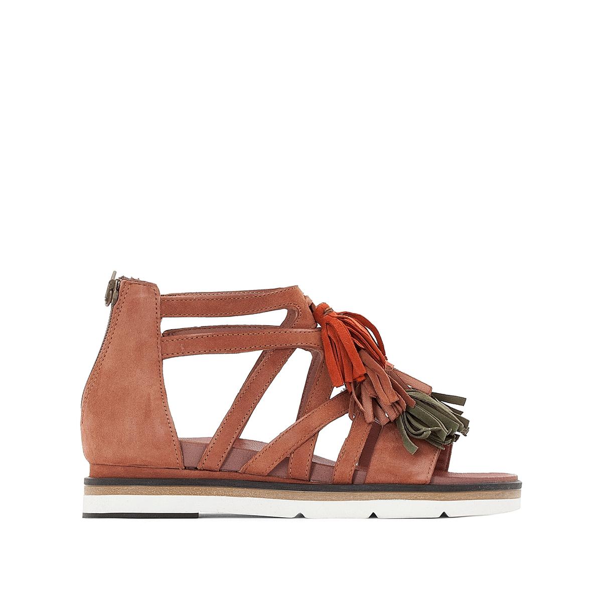 Босоножки кожаные на плоском каблуке, Ina босоножки кожаные с кисточками на плоском каблуке
