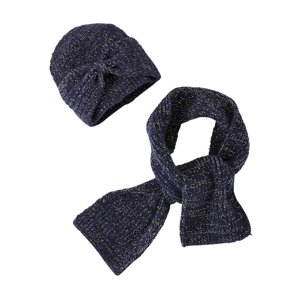 Ensemble fille bonnet à noeud + écharpe + gants fil brillant