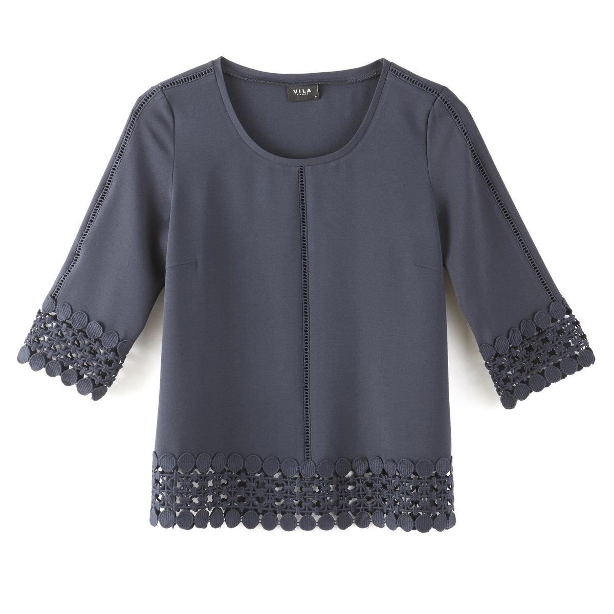 Блузка с рукавами 3/4 из гипюра
