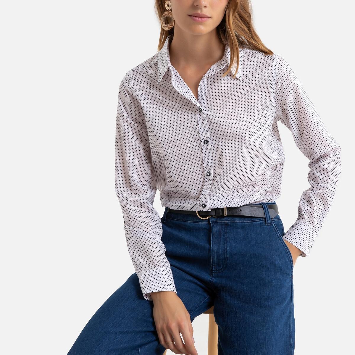 Chemise boutonnée en coton et à motifs