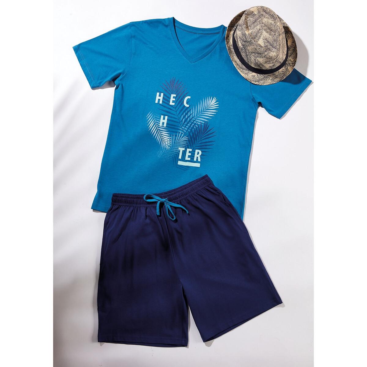 Фото - Пижама LaRedoute С шортами L синий пижама laredoute с шортами в полоску m синий