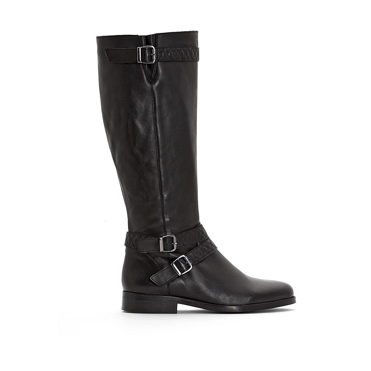 Сапоги кожаные в байкерском стиле для широкой стопы, размеры 38-45 сапоги norka сапоги в стиле чулок стрейч