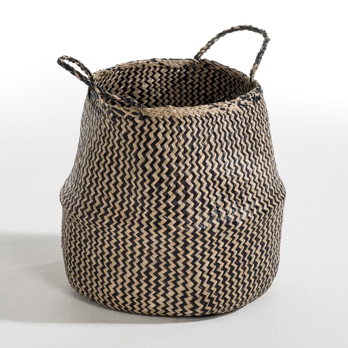 Корзина Trebla, большая модель, В. 35 смХарактеристики :- Из пальмовых листьев.- Ручная работа.Размеры :диаметр 40 x высота 35 см.<br><br>Цвет: экрю/ красный,экрю/ черный