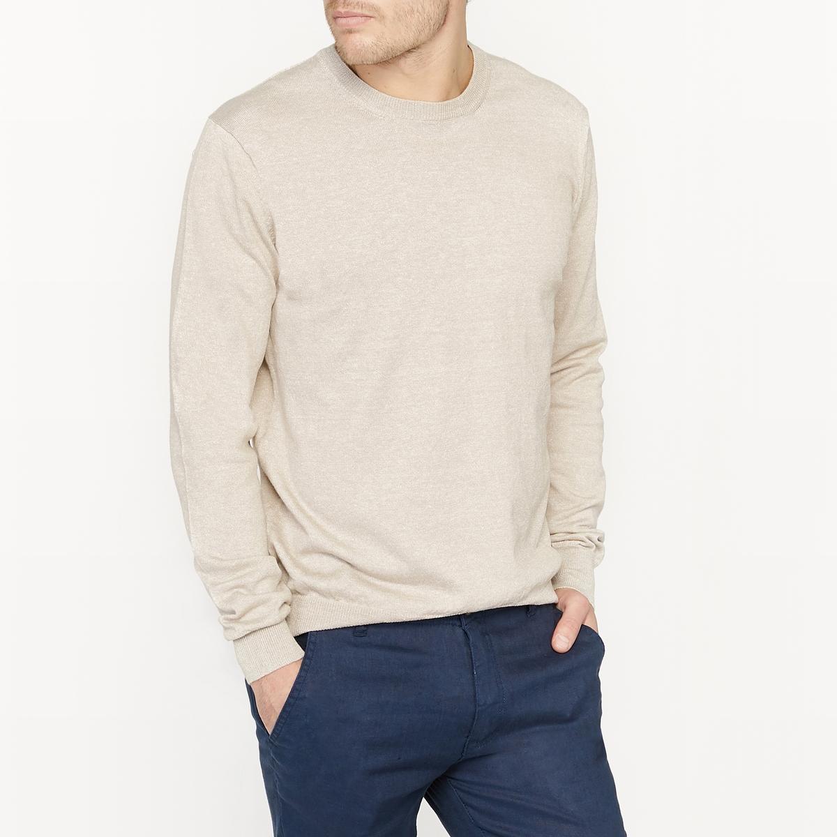Sweter z melanżowej wełny z okrągłym dekoltem