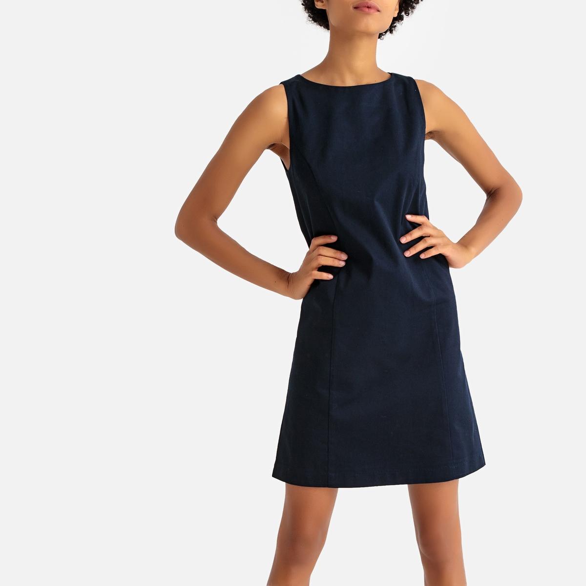 Платье La Redoute Короткое прямое без рукавов 40 (FR) - 46 (RUS) синий платье прямое средней длины однотонное без рукавов