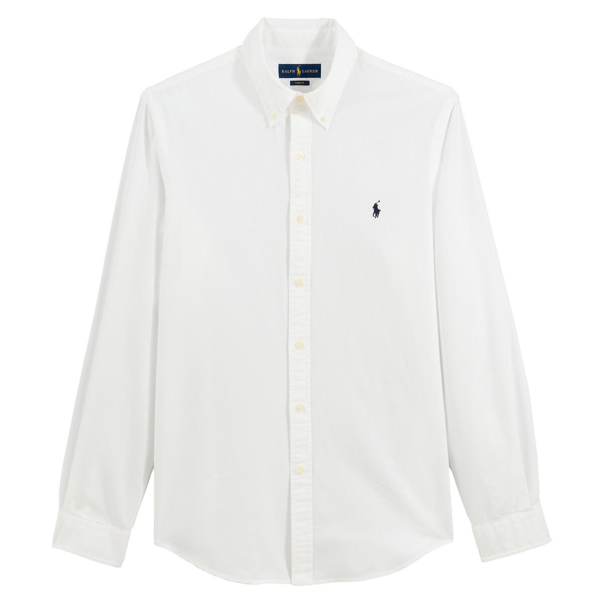цена Рубашка La Redoute Узкого покроя из ткани оксфорд L белый онлайн в 2017 году