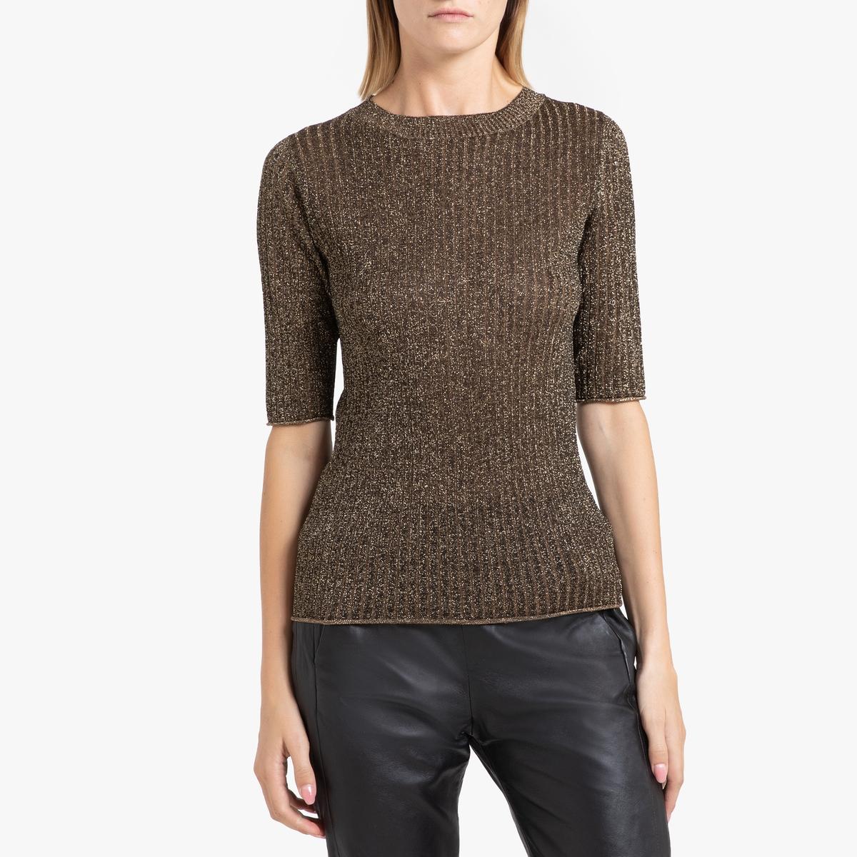 цена Пуловер La Redoute С круглым вырезом из тонкого блестящего трикотажа GLITTER 42 (FR) - 48 (RUS) черный онлайн в 2017 году