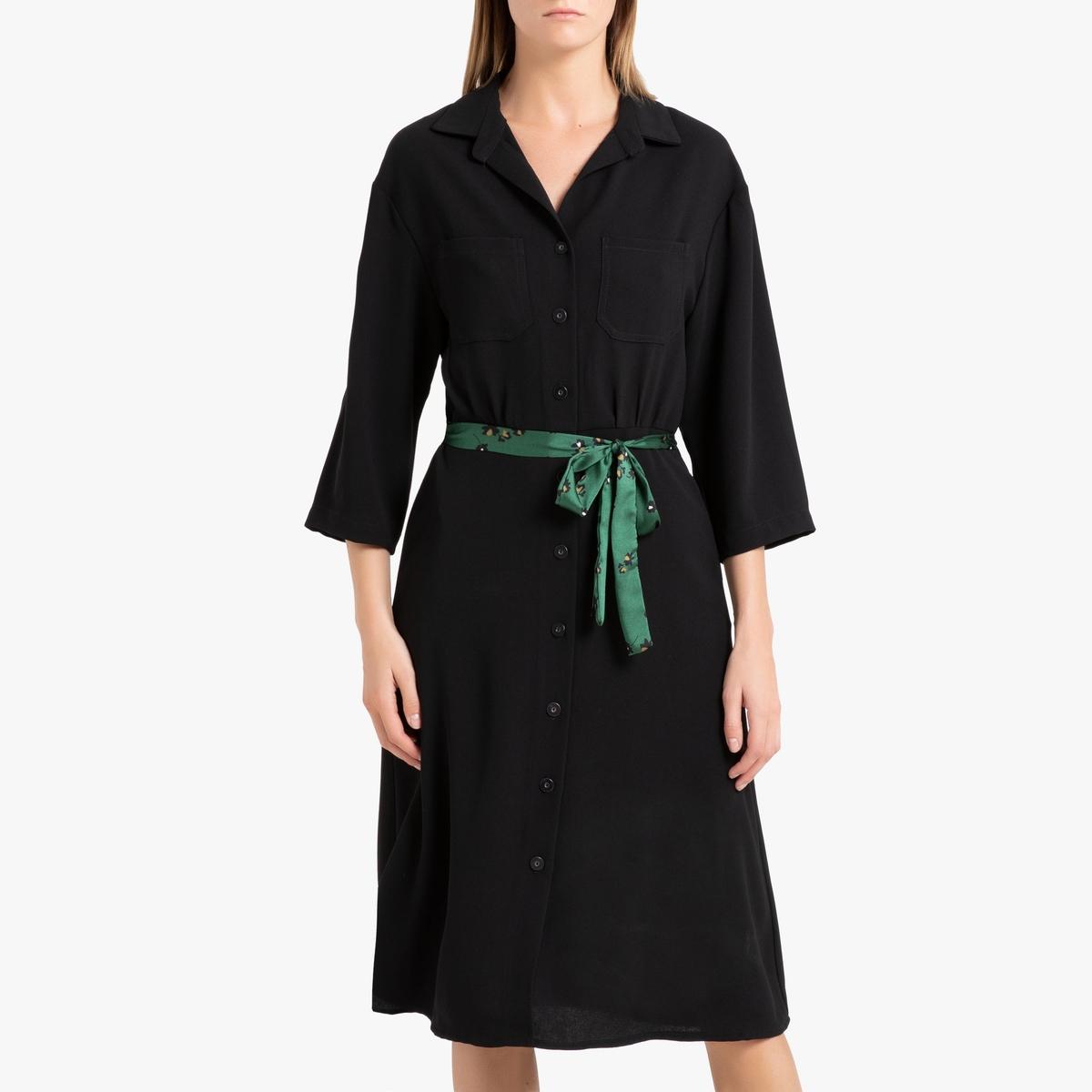 Платье-рубашка La Redoute С застежкой на пуговицы LOUISETTE L черный