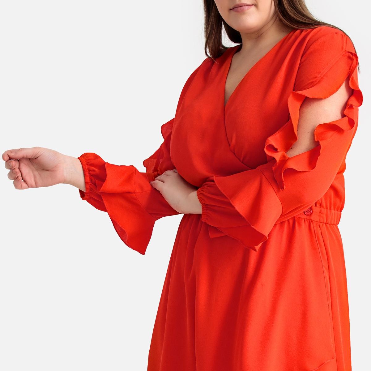 Платье-миди La Redoute Расклешенное с воланами 52 (FR) - 58 (RUS) оранжевый