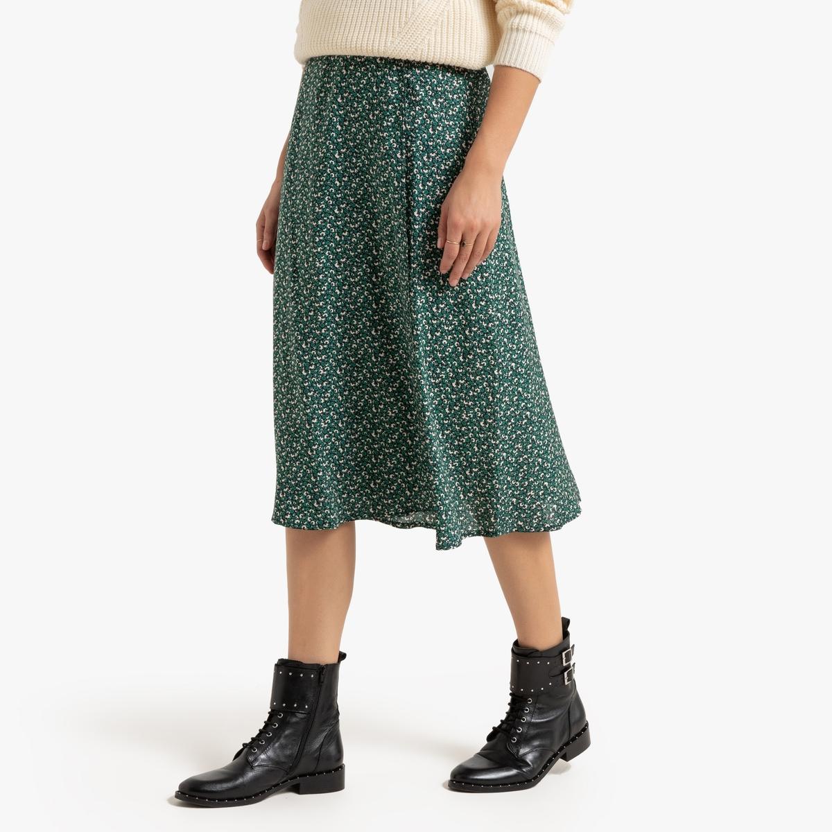Falda larga por la rodilla con estampado de flores