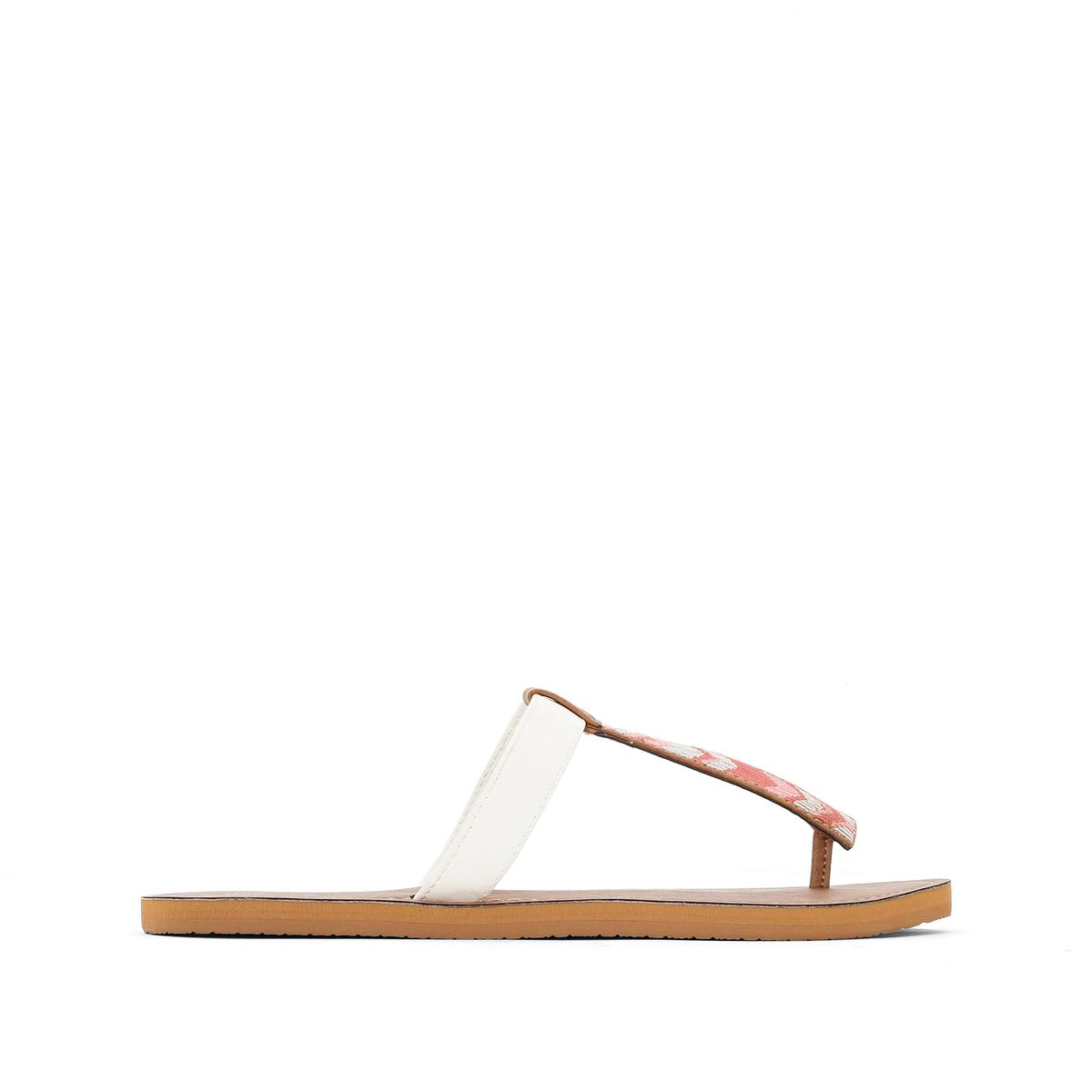 Босоножки ZanzibarВерх/Голенище : синтетика   Стелька : синтетика   Подошва : каучук   Форма каблука : плоский каблук   Мысок : открытый мысок   Застежка : без застежки<br><br>Цвет: темно-бежевый<br>Размер: 38