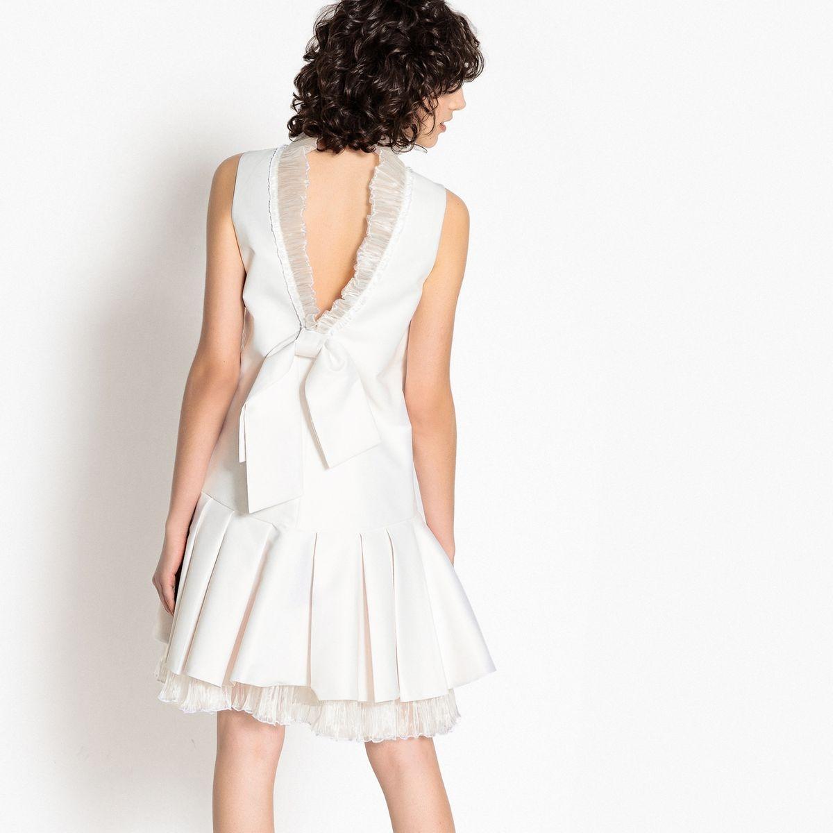 Robe de mariée courte, tulle, joli dos avec nœud
