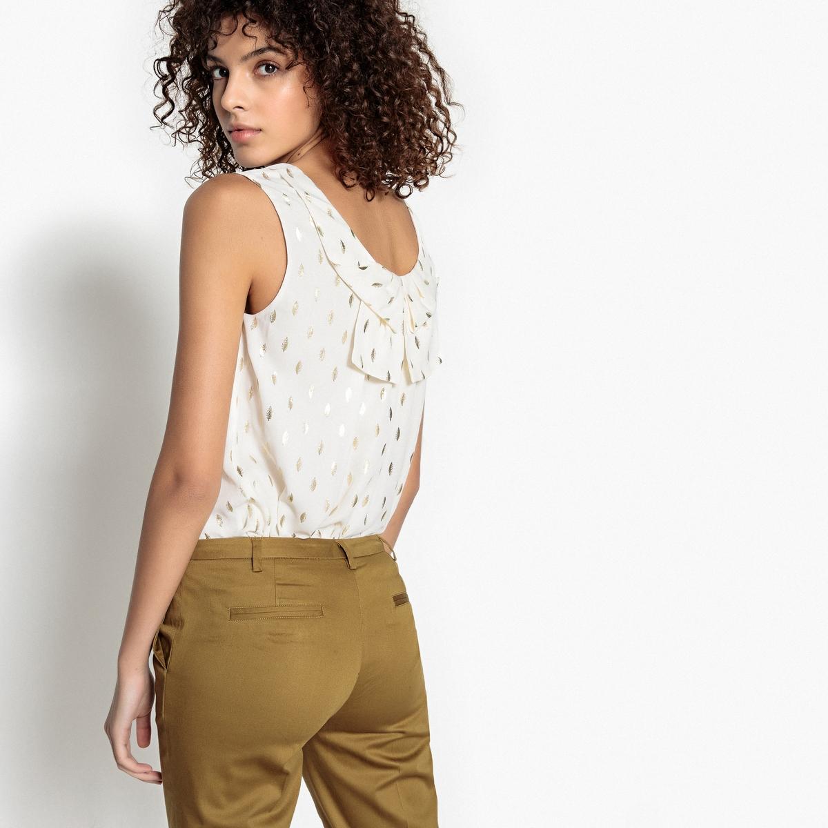 Блузка La Redoute С круглым вырезом и графическим рисунком без рукавов XS бежевый блузка с круглым вырезом графическим рисунком и длинными рукавами