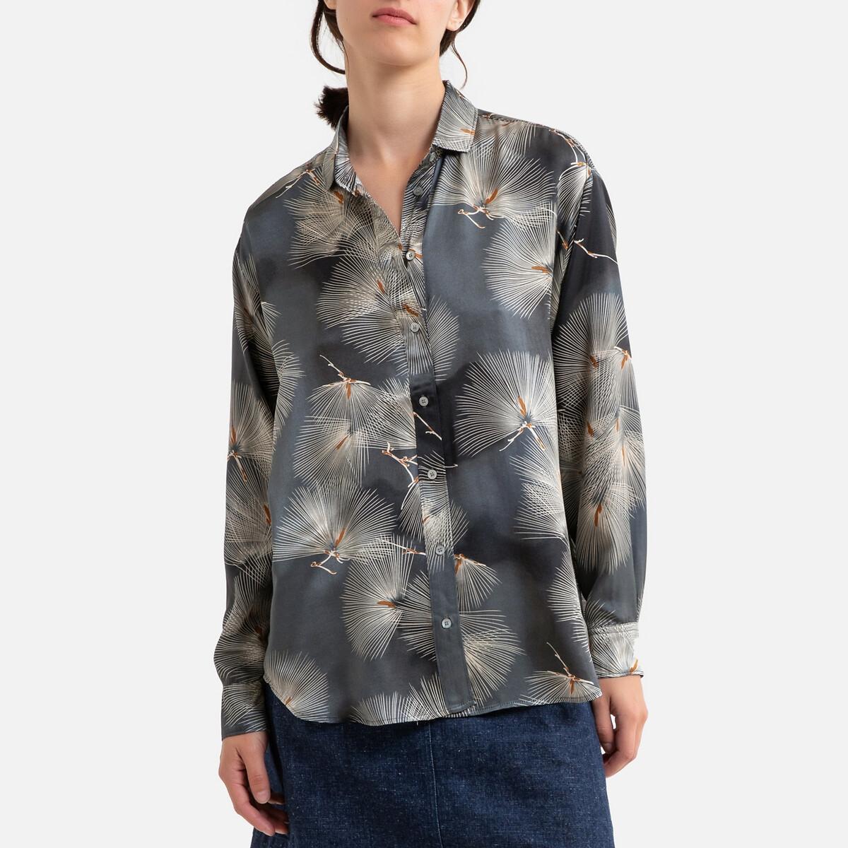Фото - Блузка LaRedoute С рисунком и длинными рукавами CHARLOT 2(M) синий блузка с рисунком и длинными рукавами для периода беременности
