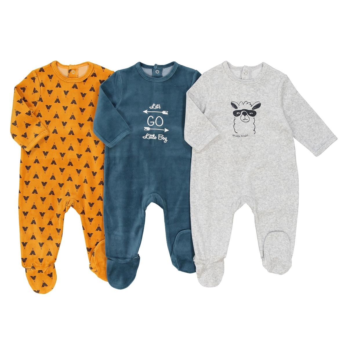 Пижама из велюра 0 мес - 3 лет (комплект из 3) 2 пижамы из велюра 0 мес 3 лет