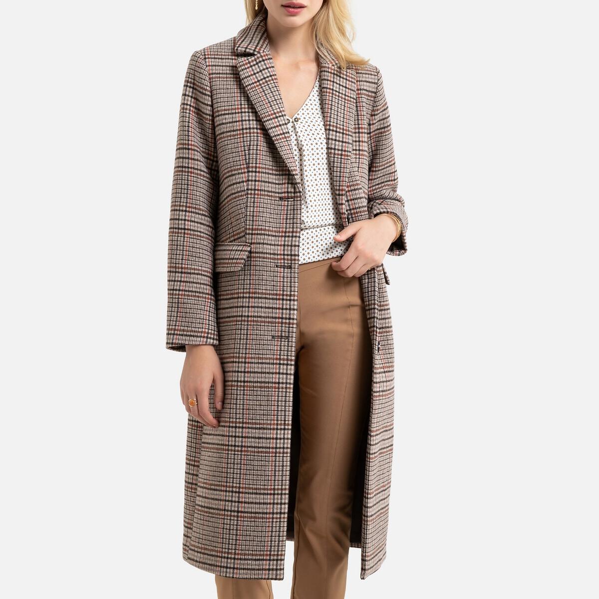 Manteau long fermeture boutonnée à carreaux