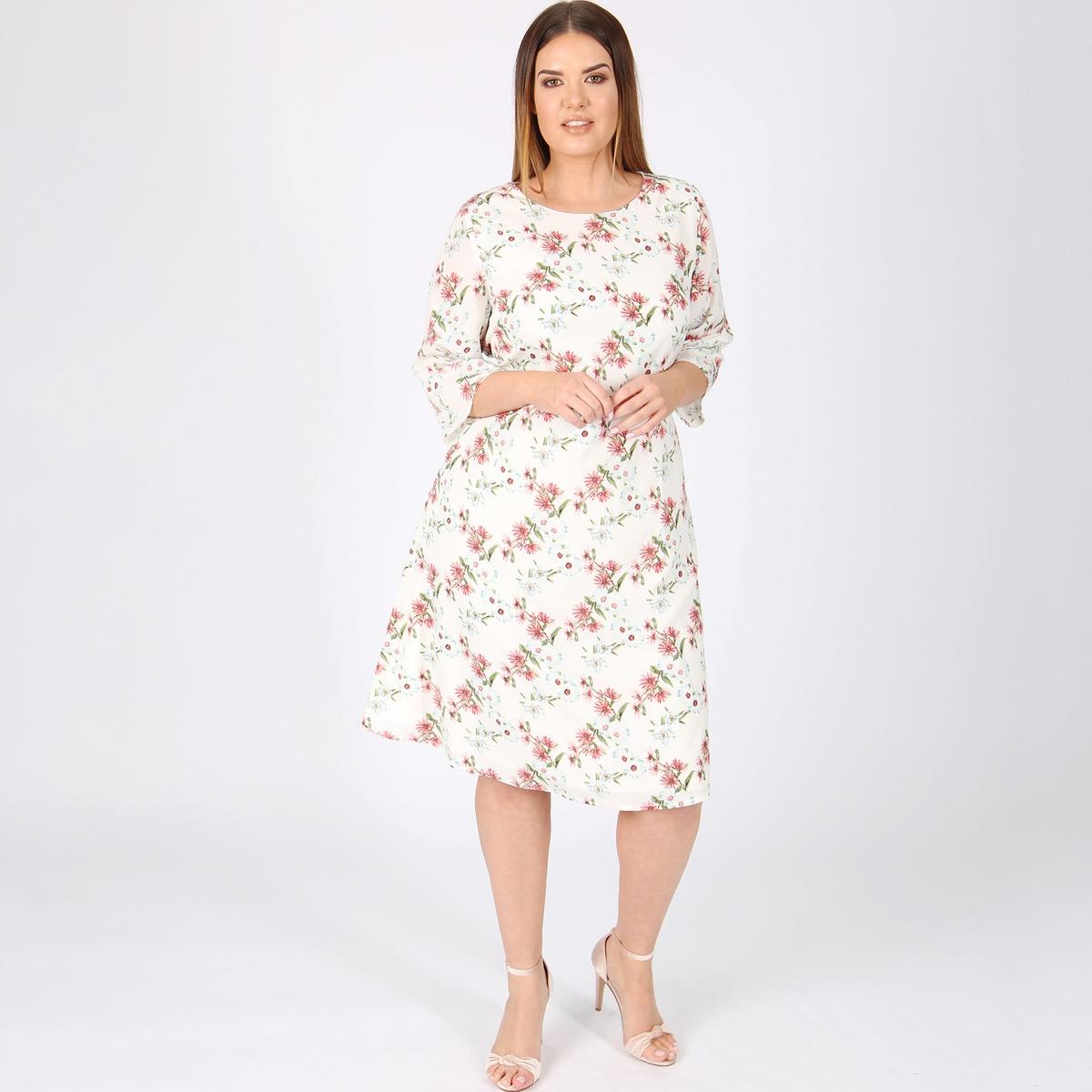 Платье-миди прямое с рукавами 3/4 платье с рукавами 3 4 roncier