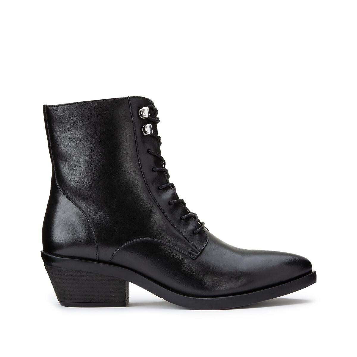 Ботинки LaRedoute Из кожи на широком каблуке 39 черный ботинки laredoute из кожи на широком каблуке с питоновым принтом 39 бежевый