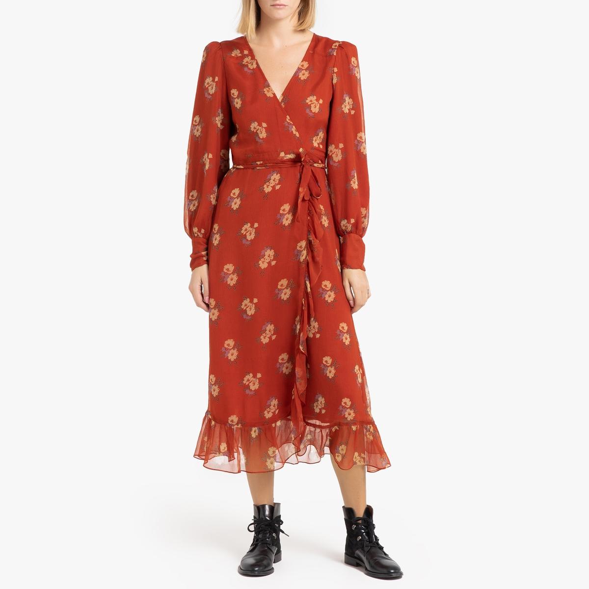 Платье La Redoute Длинное прямое с длинными рукавами AMELIE L желтый классическое платье с длинными рукавами и складками на юбке liu jo