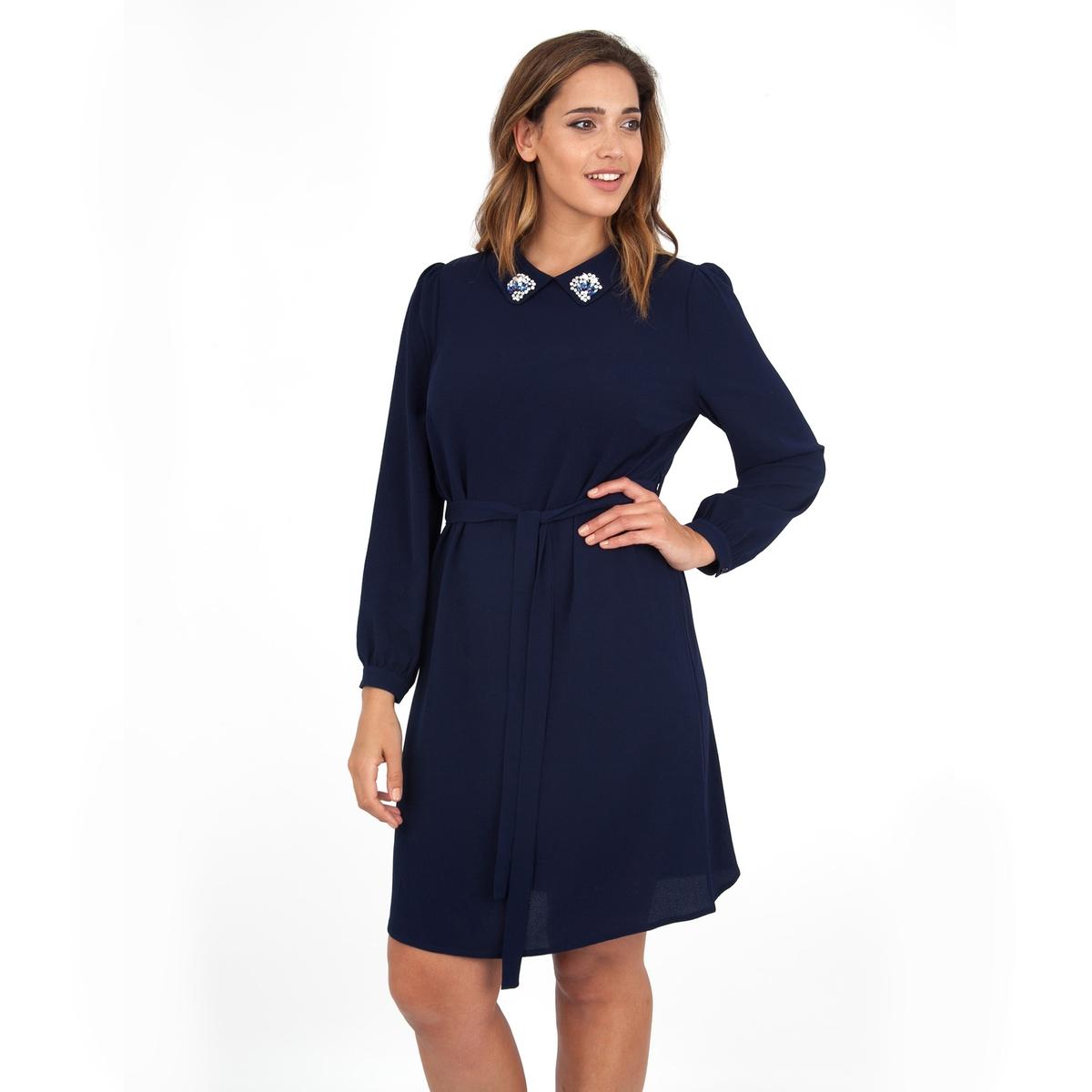 ПлатьеПлатье с длинными рукавами - LOVEDROBE. Красивая отделка выреза. Ремень на поясе. Длина ок.104 см. 100% полиэстера.<br><br>Цвет: темно-синий<br>Размер: 58/60 (FR) - 64/66 (RUS)