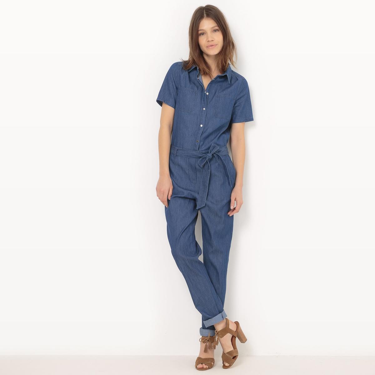 Комбинезон с брюками из денима, короткие рукава водолазка fly одежда повседневная на каждый день