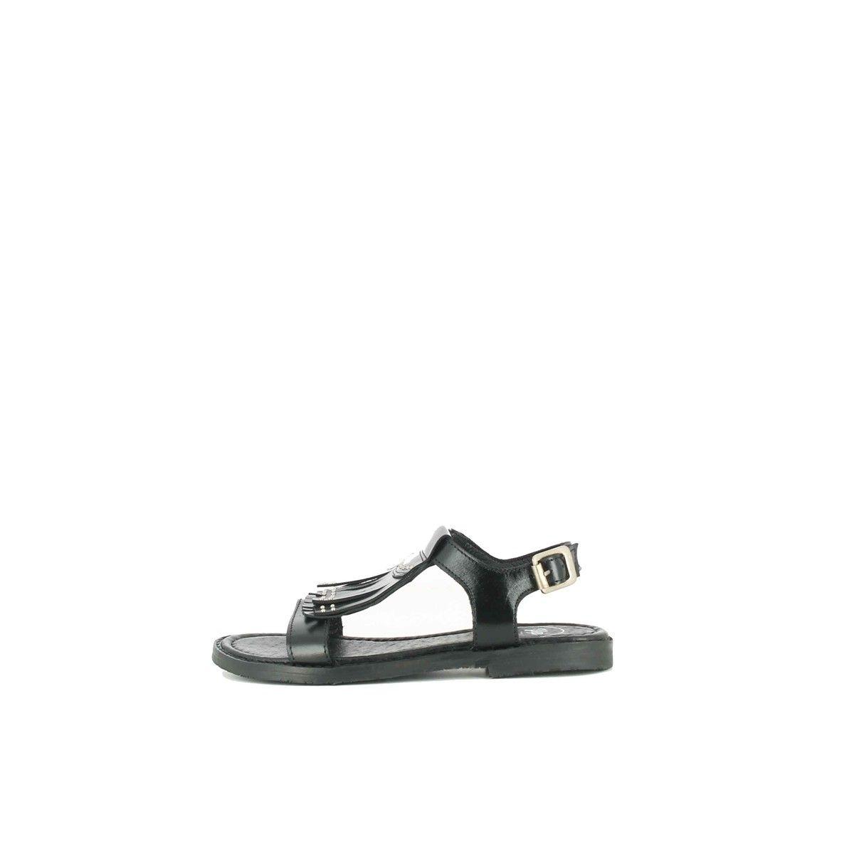 Sandales à franges cloutées cuir