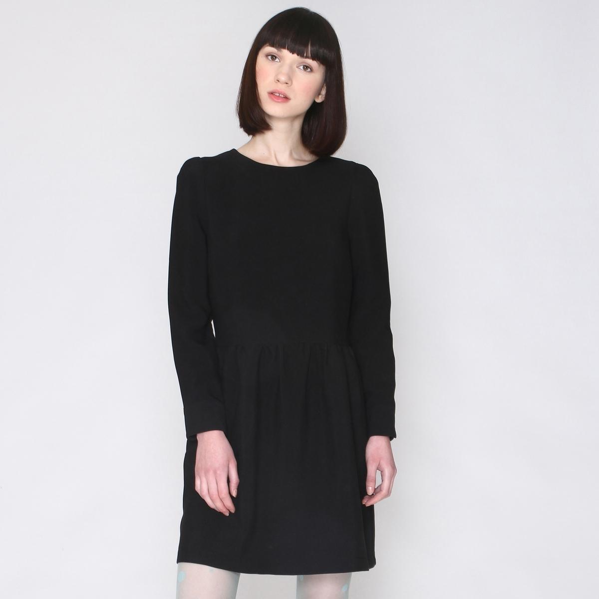 Платье с круглым вырезом и длинными рукавамиштрихом роскоши и обновленным винтажным дизайном! Состав и описаниеМатериал:  60% полиэстера, 25 вискозы, 5% эластана Марка: Pepaloves.Застежка: вырез-капля на 1 пуговицу сзади .<br><br>Цвет: черный<br>Размер: L