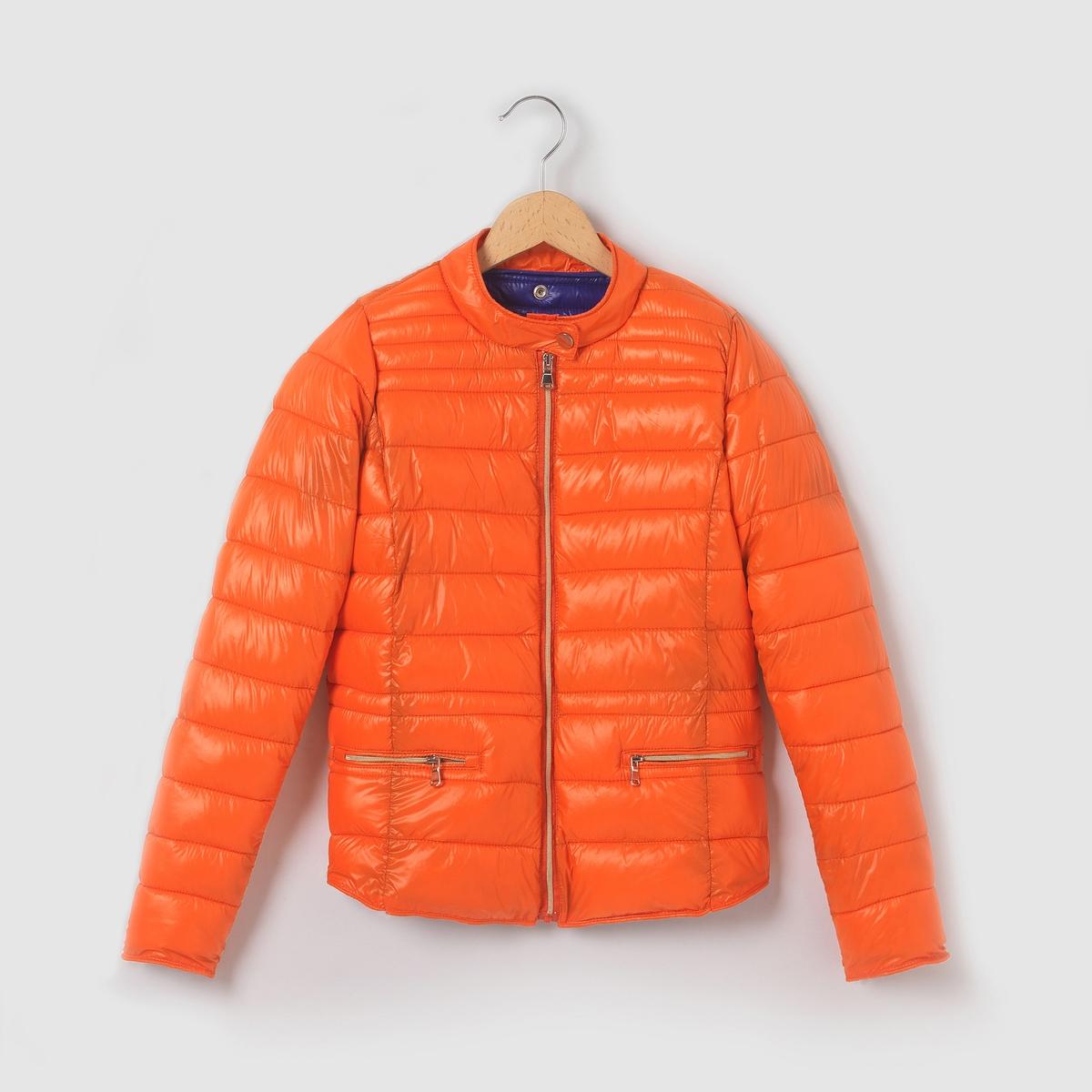 Стёганая куртка, лёгкая, на  10 - 16 летЛёгкая стёганая куртка с длинными рукавами. На пике модных тенденций! 100% полиамида. Контарастная подкладка из  100% полиамида. Ватин,  100% полиэстера. Застёжка + 2 кармана на молнии. 1 кнопка-пуговица.<br><br>Цвет: оранжевый<br>Размер: 12 лет -150 см