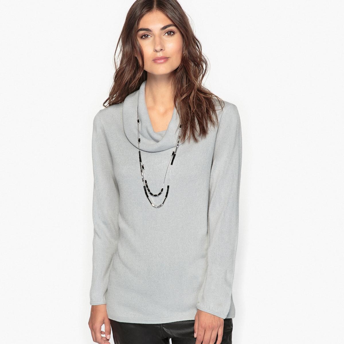 Пуловер с объемным воротником-хомутом из ткани, напоминающей на ощупь кашемир