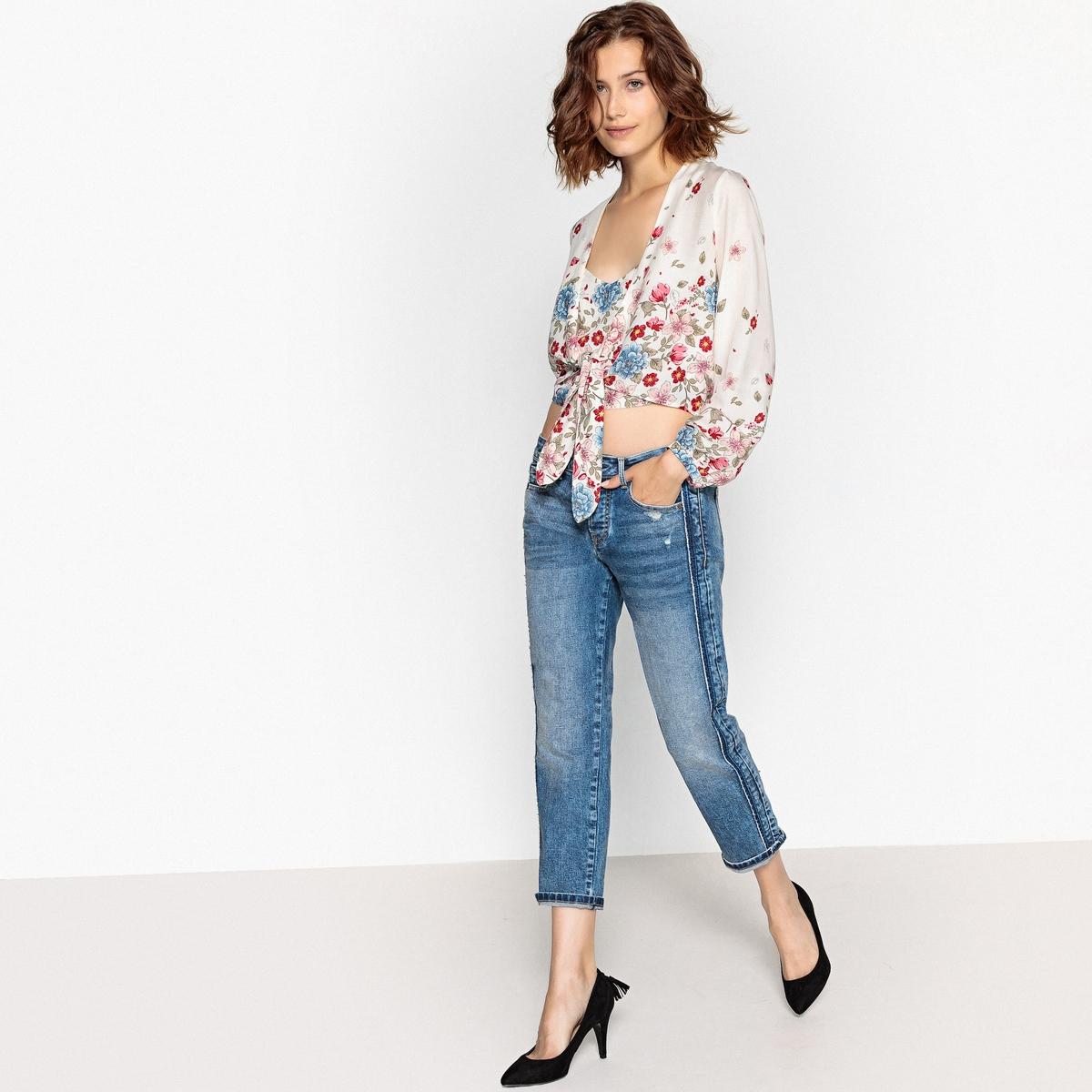 Imagen secundaria de producto de Blusa con cuello de pico anudada en el bajo, estam - Pepe Jeans